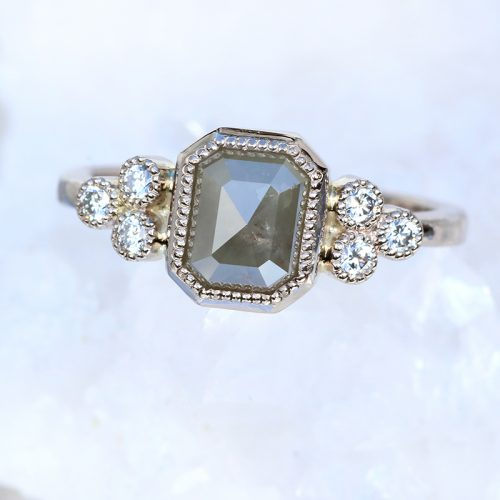 Emerald Shape Rose Cut Grey Diamond Cluster Ring