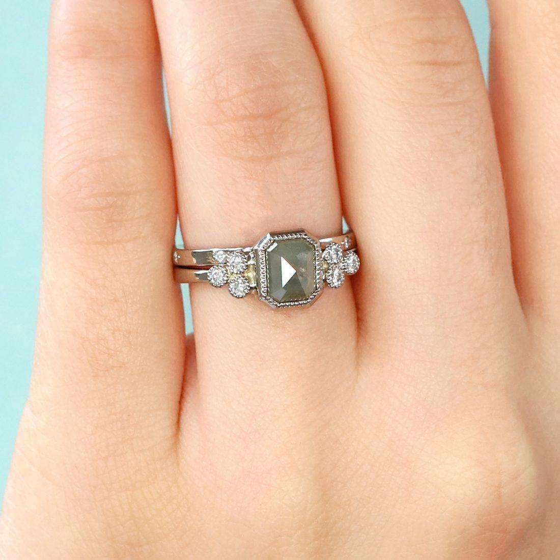18ct White Gold Emerald Shape, Rose Cut Diamond Engagement Ring