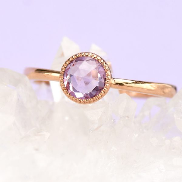 18ct rose gold purple sapphire engagement