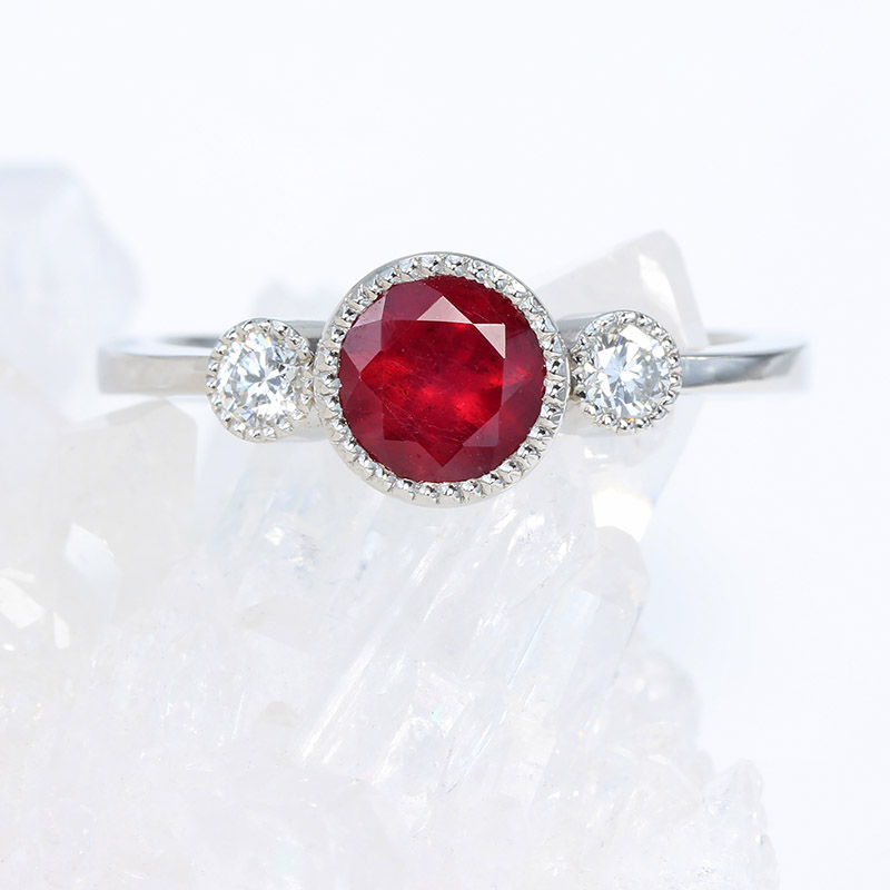 ruby and diamond trilogy ring in 950 platinum