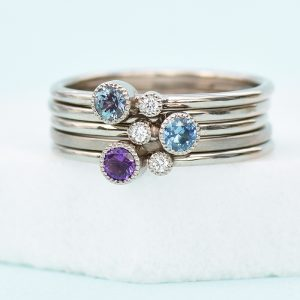 Lilia Nash white gold stacking rings