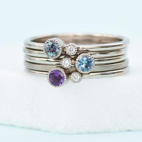Lilia Nash white gold stacking rings