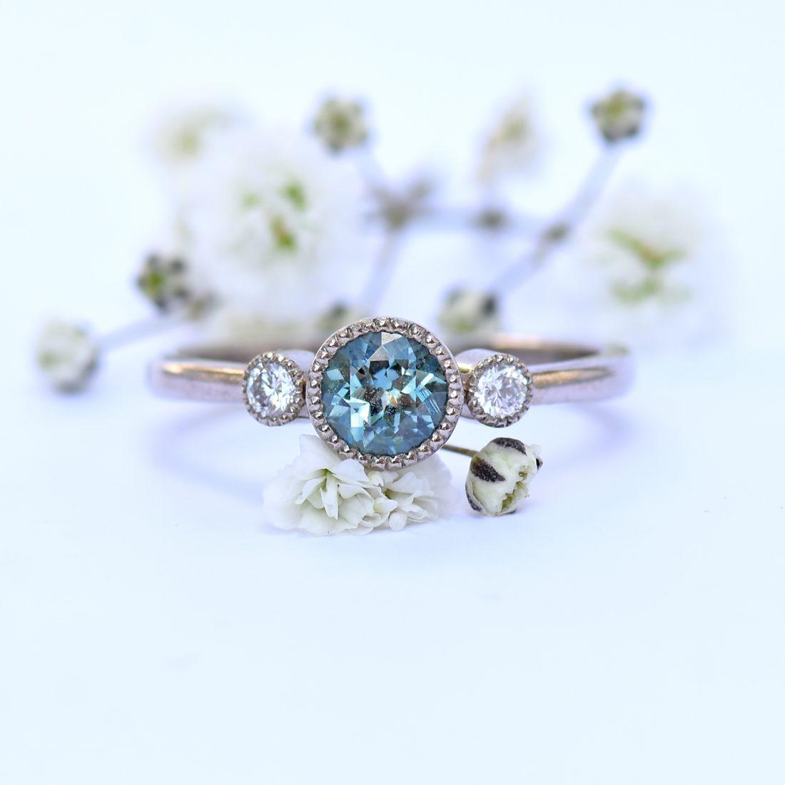 White Gold Diamond & Sapphire Engagement Ring