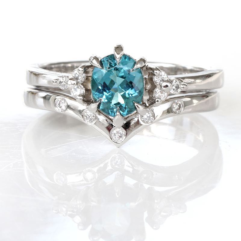 teal tourmaline diamond ring set platinum