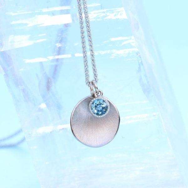 aquamarine petal charm pendant