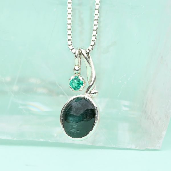 cats eye tourmaline pendant & chain