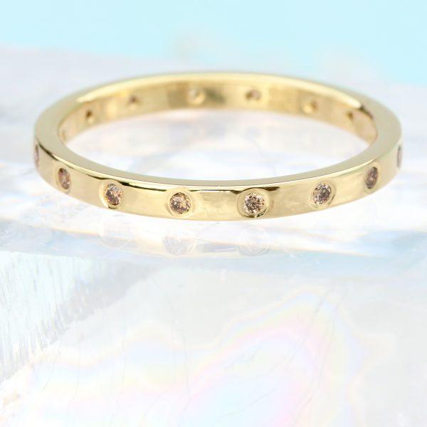 18ct gold champagne diamond ring