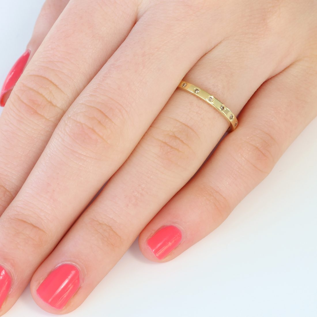 slim champagne diamond wedding ring