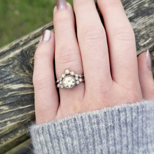moissanite cluster engagement ring