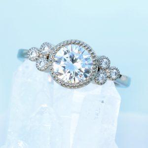 moissannite cluster engagement ring