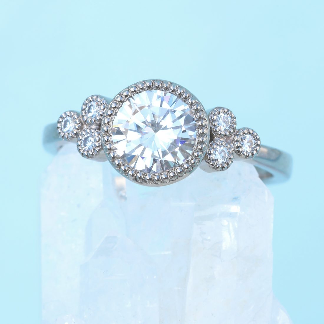 moissannite cluster engagement ring