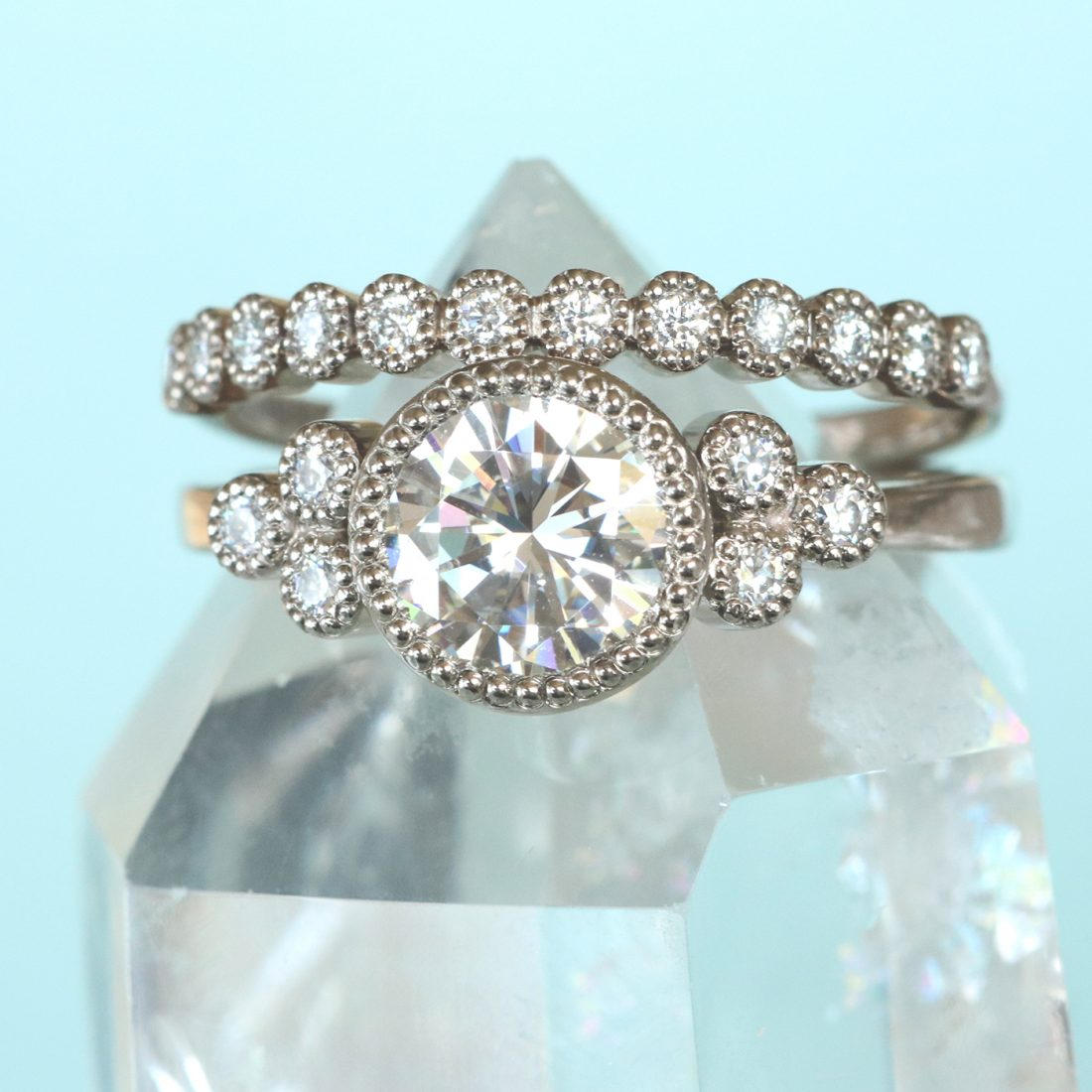 moissanite cluster ring & diamond eternity ring