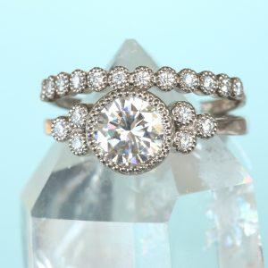 moissanite cluster ring & diamond eternity ring