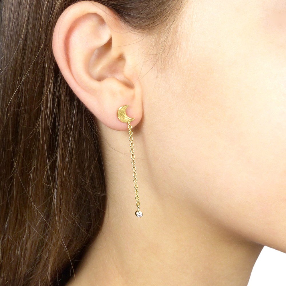 yellow gold moon diamond earrings