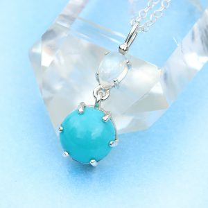 turquoise moonstone pendant & chain - silver