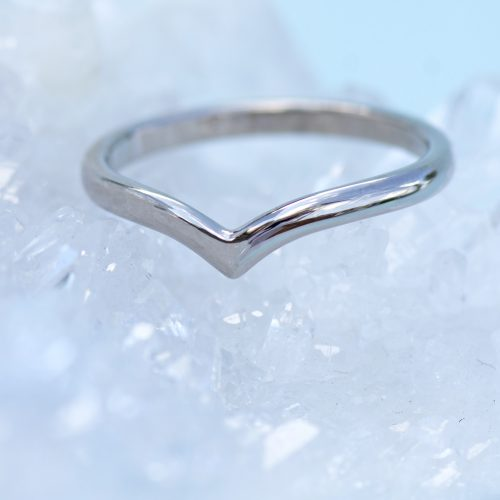 18ct white gold wishbone ring