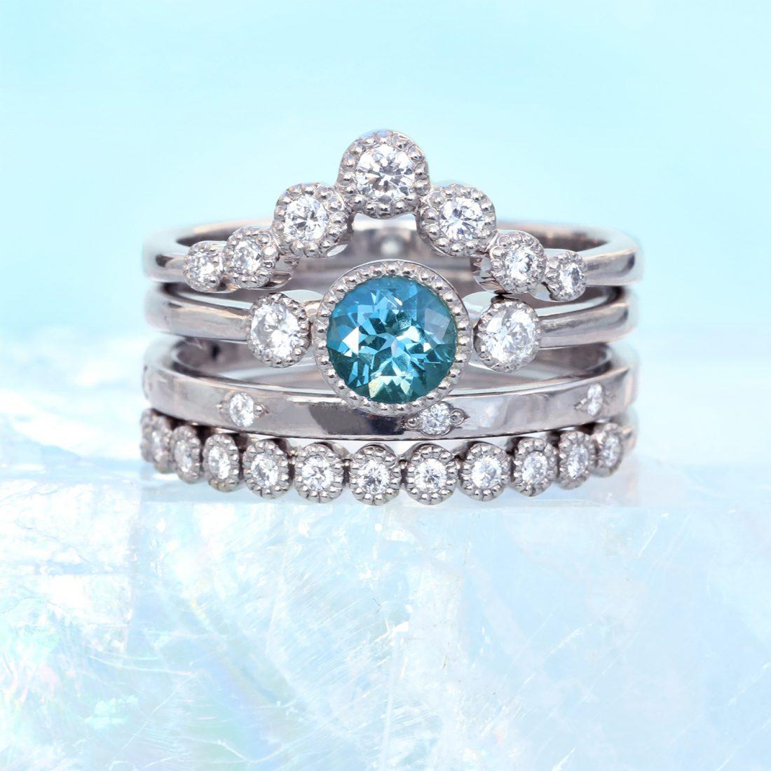 diamond wishbone ring stack