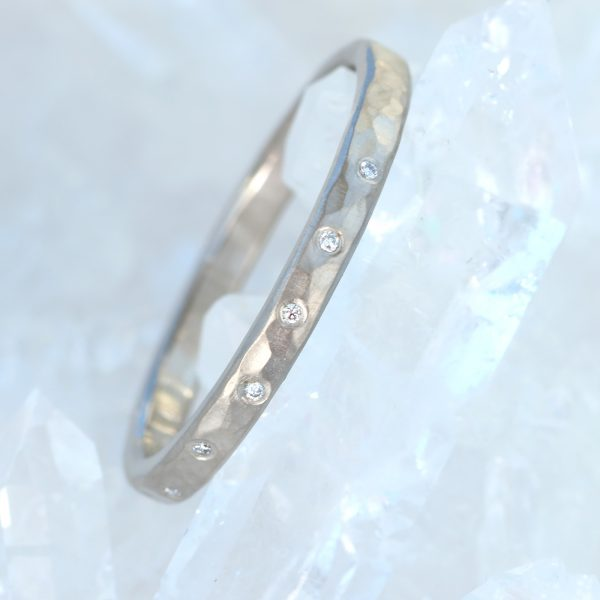 diamond hammered wedding ring