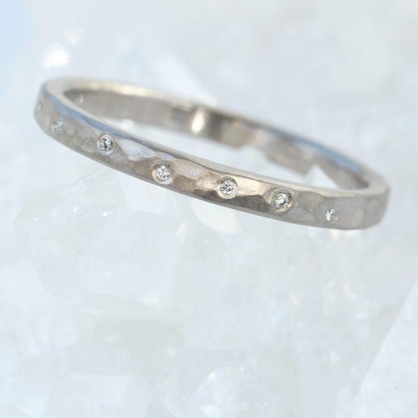 diamond hammered wedding ring