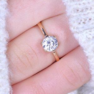 moissanite flower ring