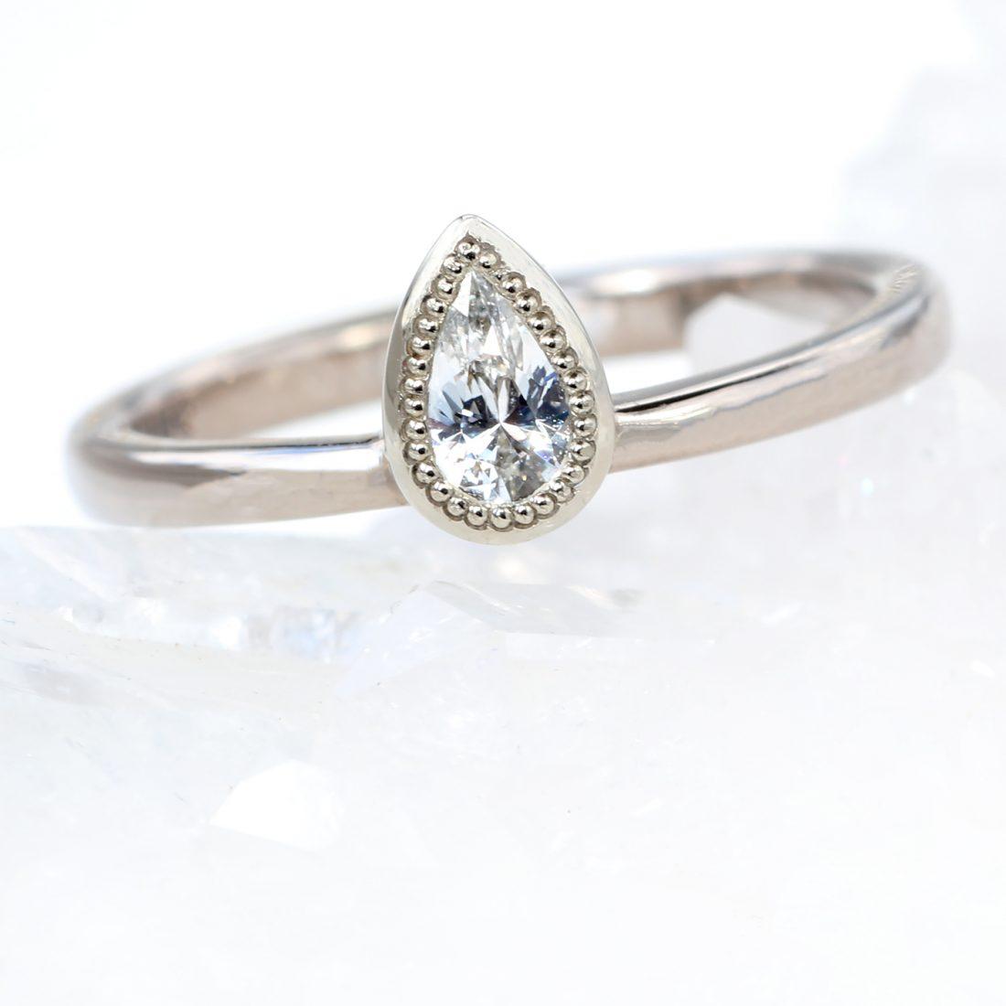 white sapphire pear ring