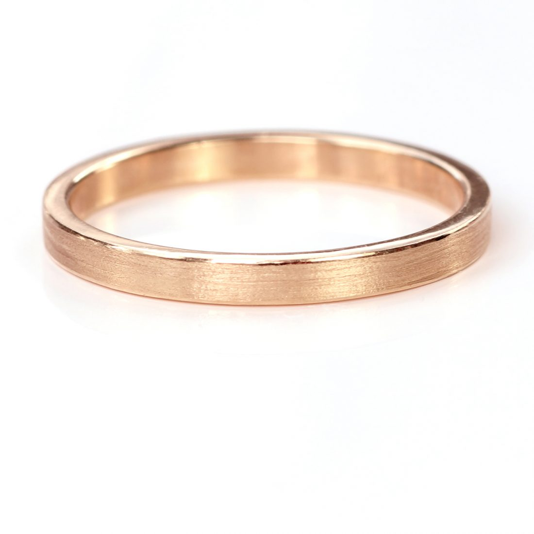 2mm x 1.2mm flat wedding wedding ring rose gold