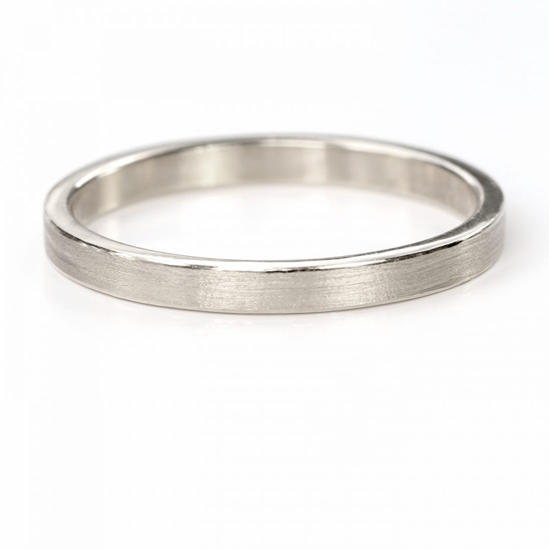 2mm x 1.2mm flat wedding wedding ring white gold