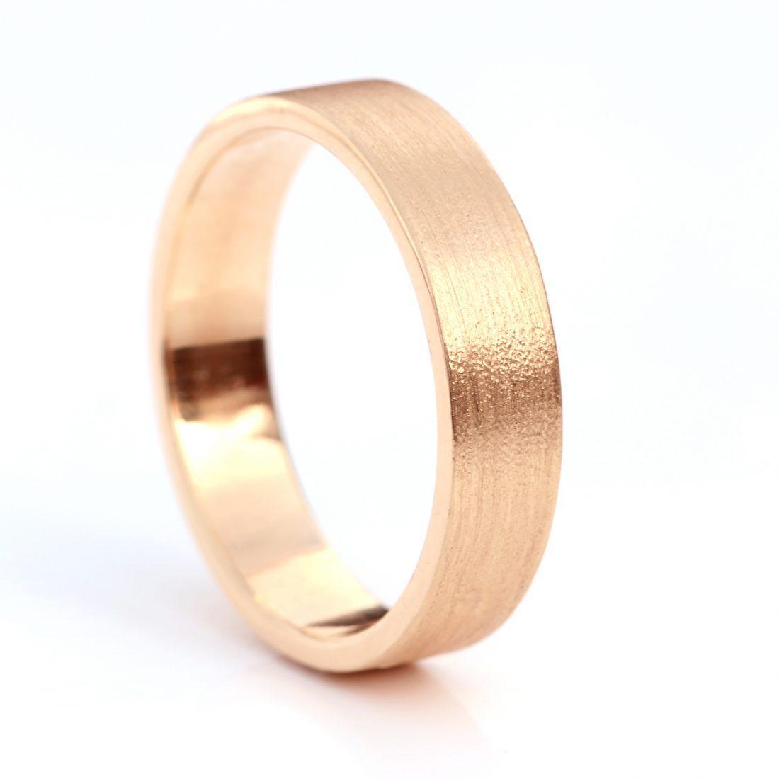 5mm flat wedding ring rose gold