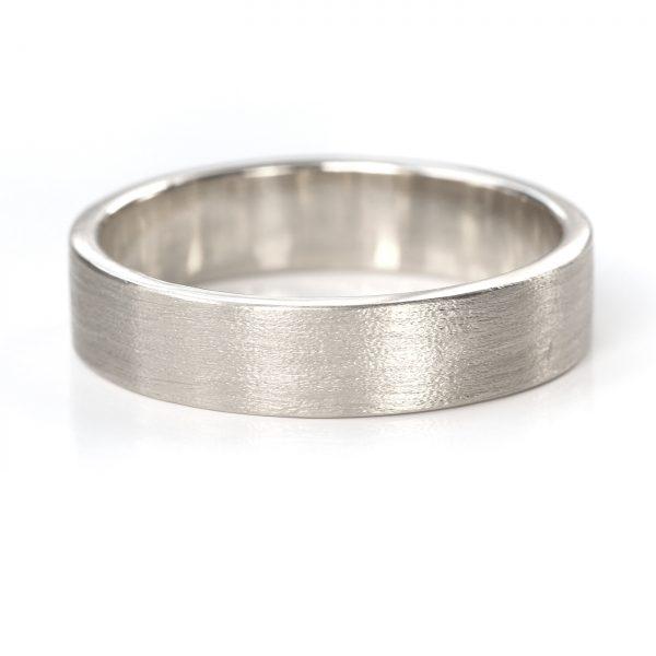 5mm flat wedding ring white gold