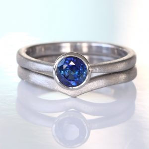 blue sapphire wishbone ring set
