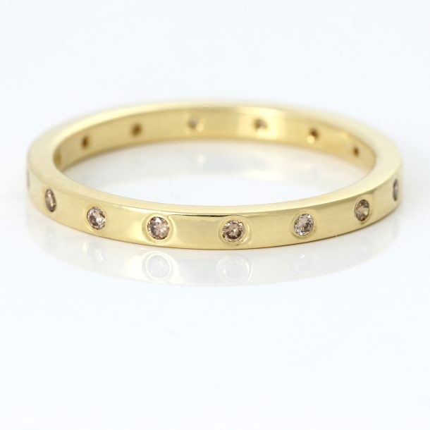 slim champagne diamond wedding ring
