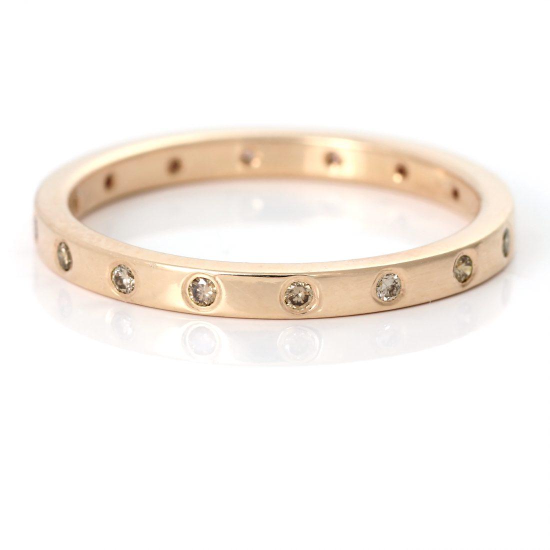 champagne diamond wedding ring rose gold