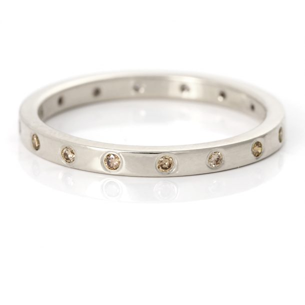 champagne diamond wedding ring white gold