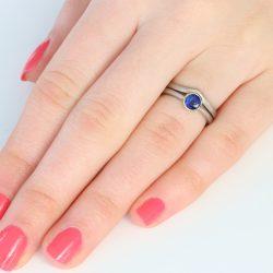 sapphire wishbone ring set