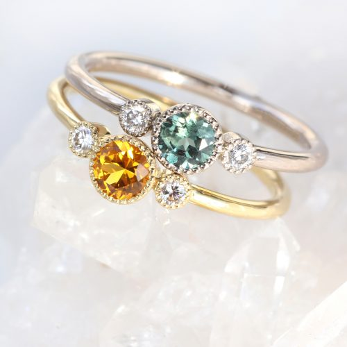 sapphire and diamond trilogy rings