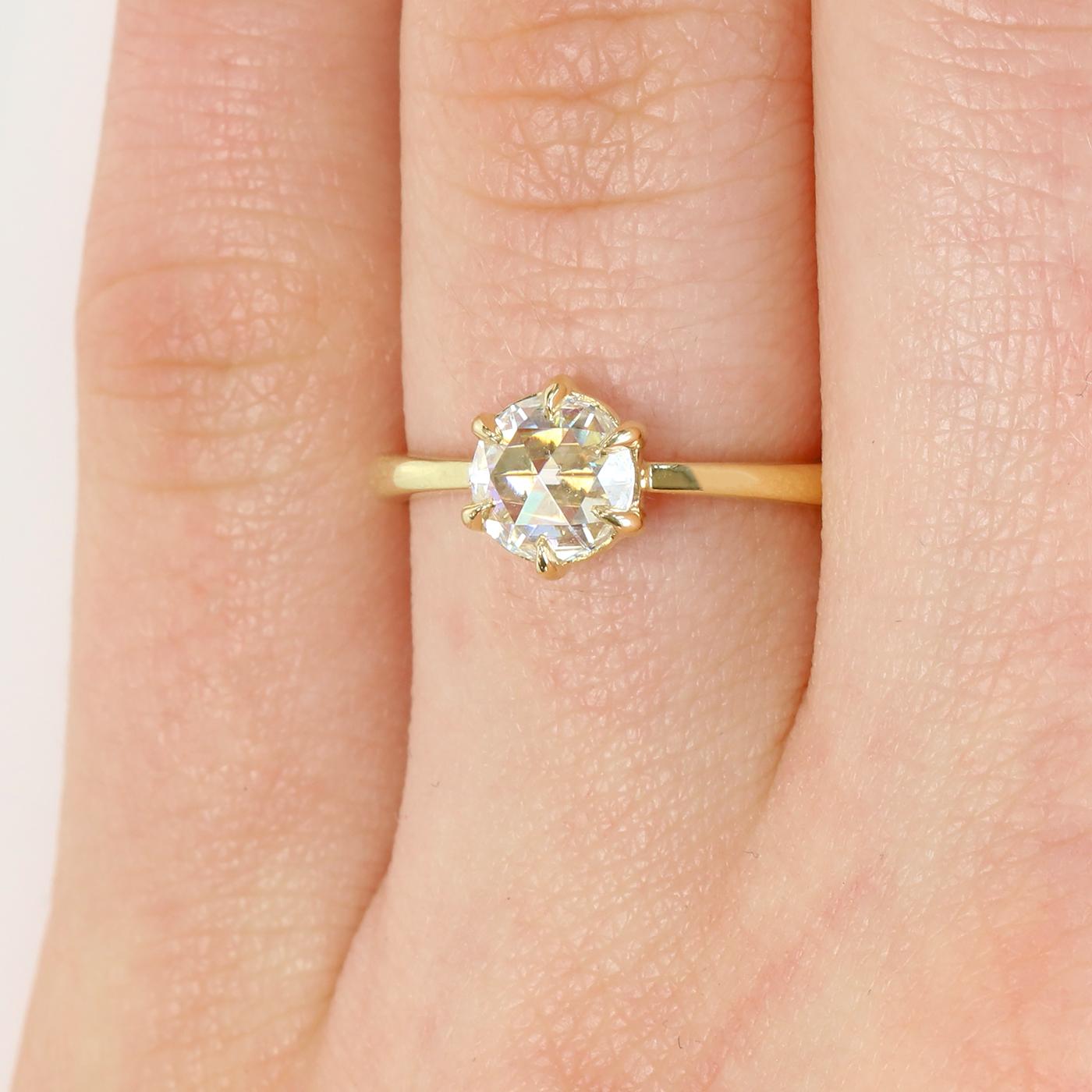 Rose Cut 6 Prong Diamond Engagement Ring 18ct Golds Or Platinum Lilia Nash