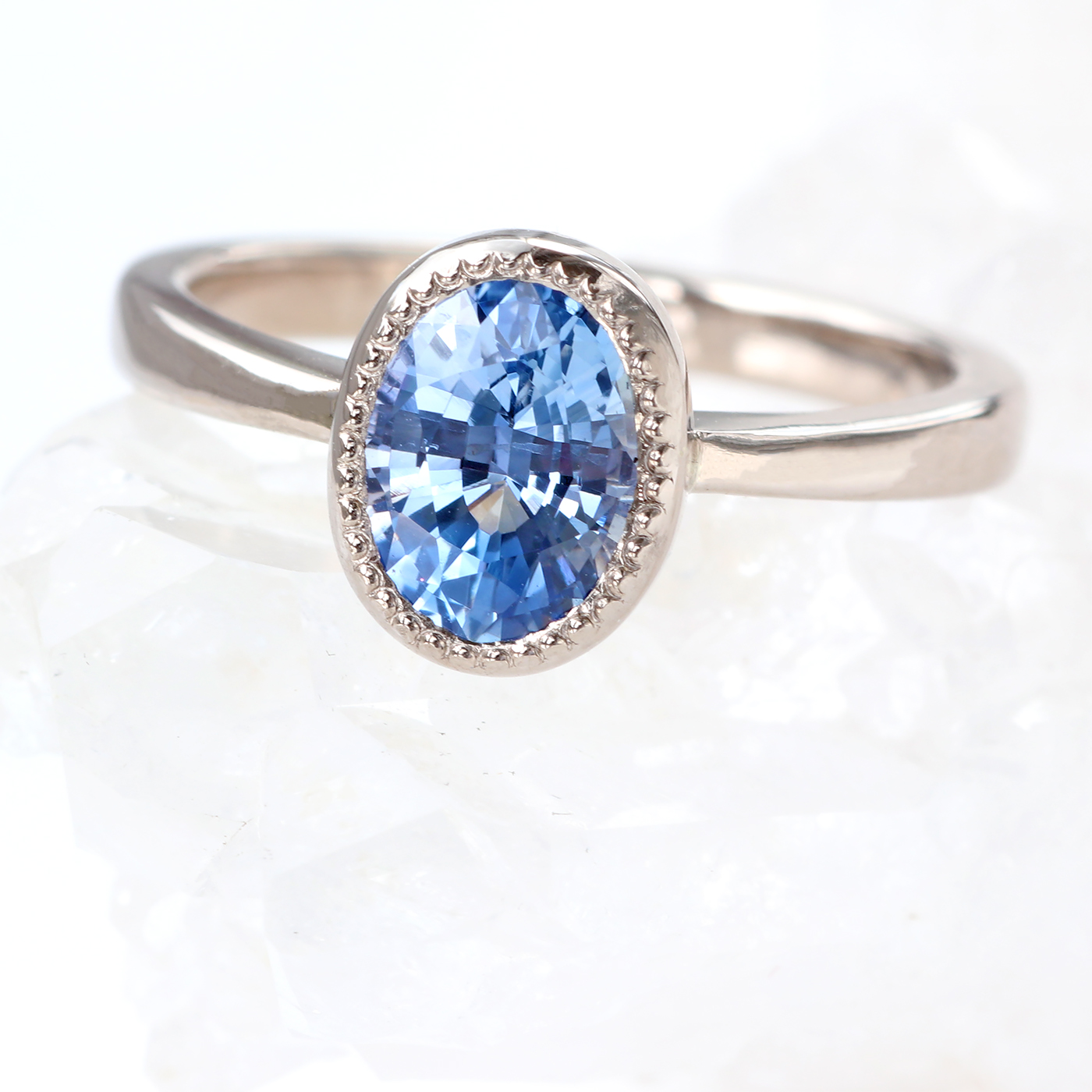 Lilia Nash Oval Cut Sapphire Ring in 18ct White Gold - Size K