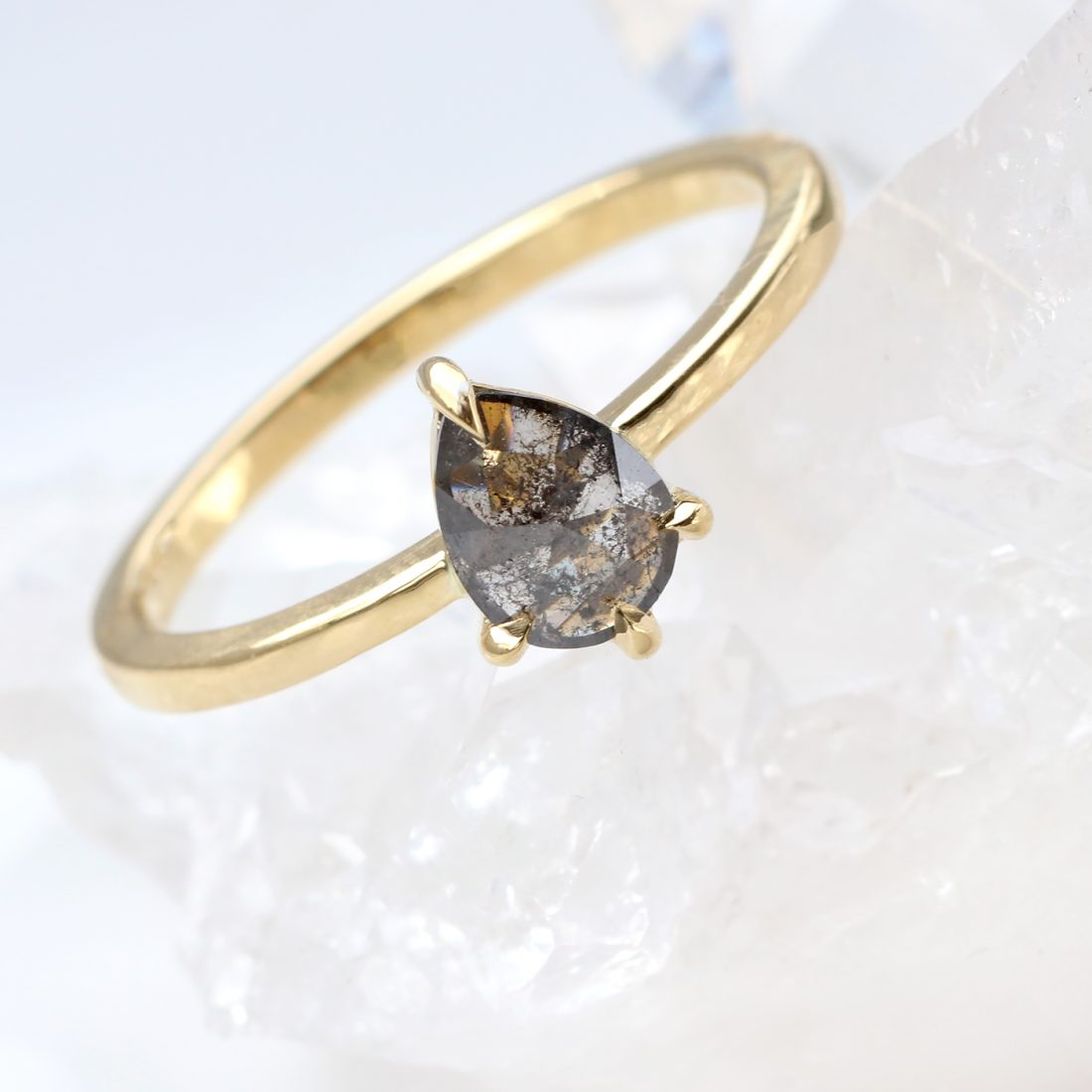 18ct Gold Salt & Pepper Diamond Engagement Ring - Lilia Nash Jewellery