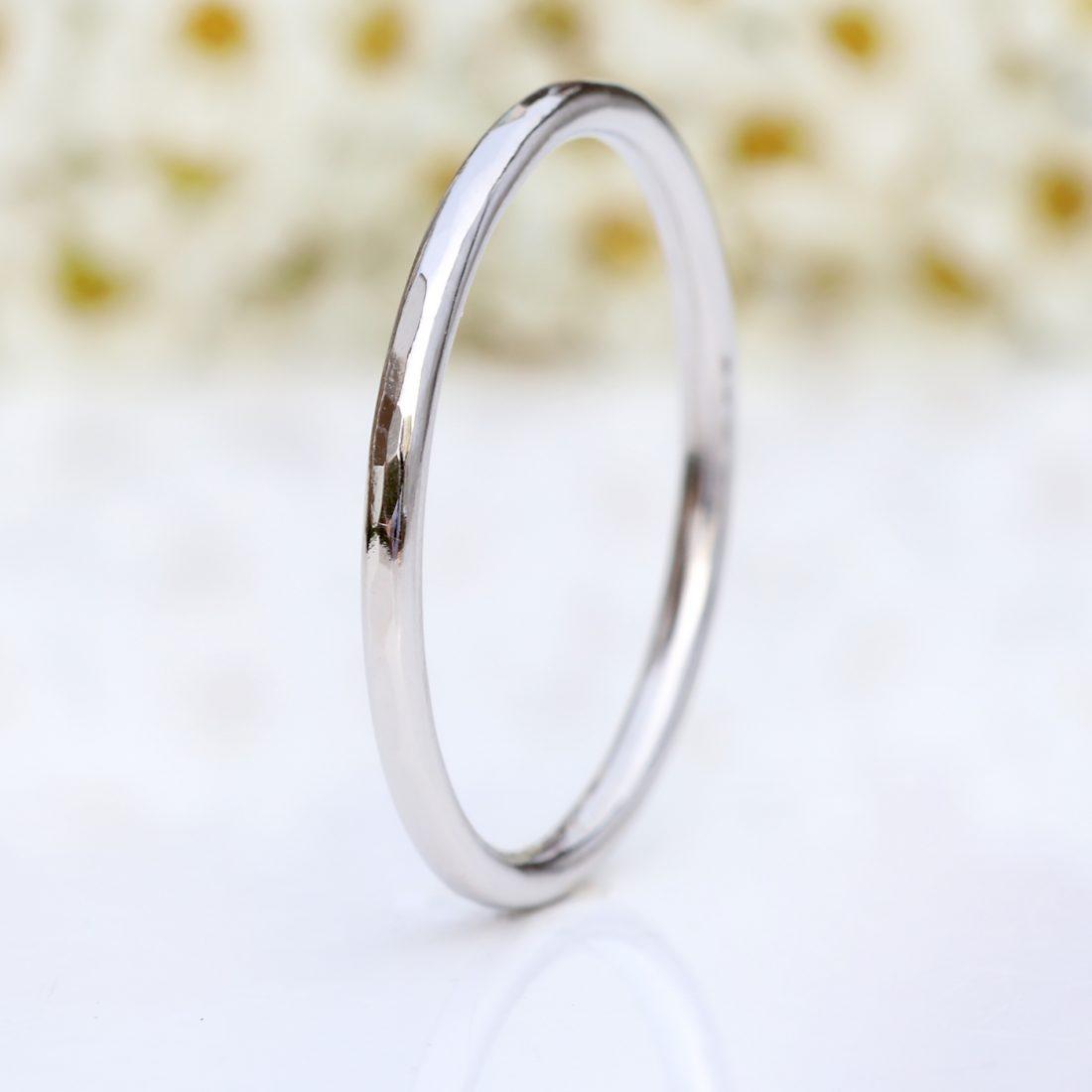 platinum slim halo wedding ring