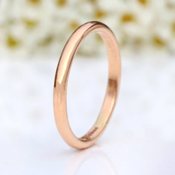 2.5mm half round wedding ring, rose gold