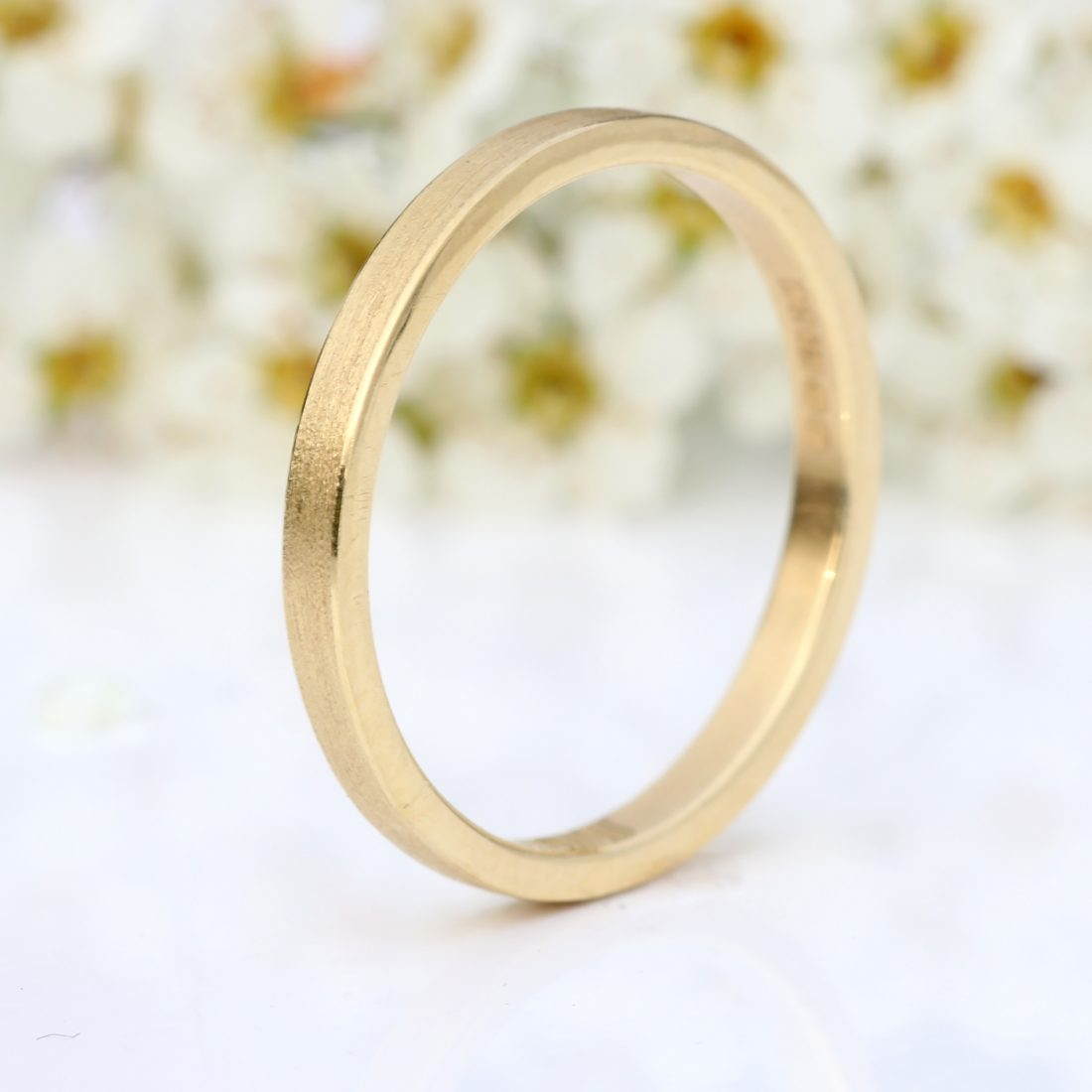 2mm slim flat gold wedding ring