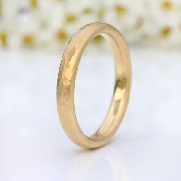 3mm half round hammered wedding ring