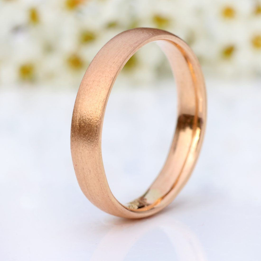 4mm 18ct rose gold comfort fit wedding ring