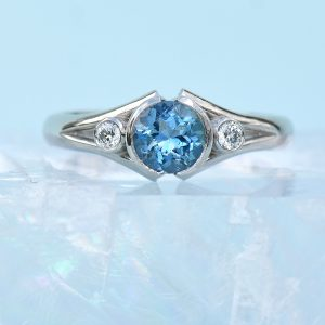 Bespoke Aquamarine and Diamond Split-shank Ring in Platinum
