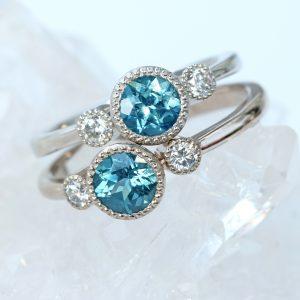 Fair Trade Blue Teal Sapphire and Diamond Ring