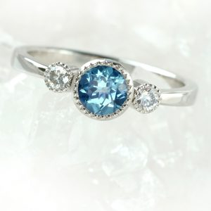 Fair Trade Blue Teal Sapphire and Diamond Ring