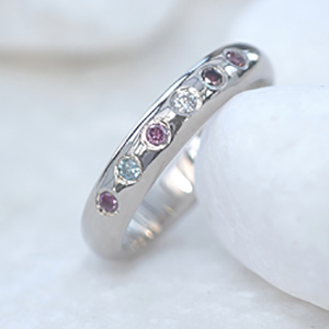 18ct White Gold Birthstone Ring, Set With Coloured Diamonds Representing Birthstones