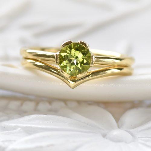 Bespoke Peridot Wishbone Bridal Set in 18ct Gold