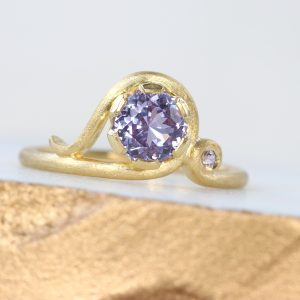 Bespoke Brushed Gold Purple Sapphire Art Nouveau Ring