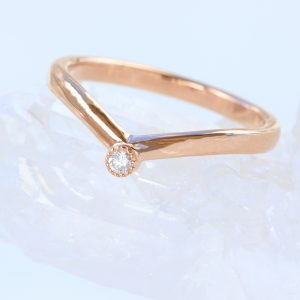 Diamond Wishbone Band in Rose Gold